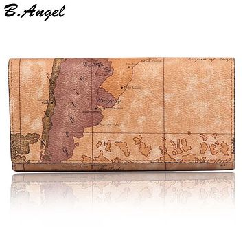 New Fashion World Map Wallet Women Purse Brand Wallet Men Multifunctional Long Design Hasp Leather Wallet Coin Purse Card Holder