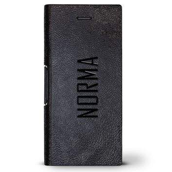 Norma, Modern Font First Name | Leather Series case for iPhone 8/7/6/6s in Hickory Black