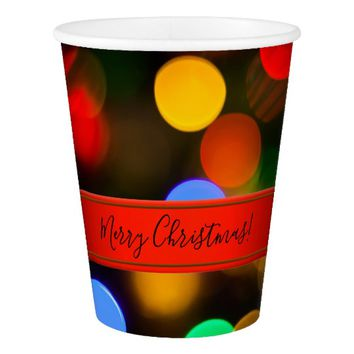 Multicolored Christmas lights. Add text or name. Paper Cup