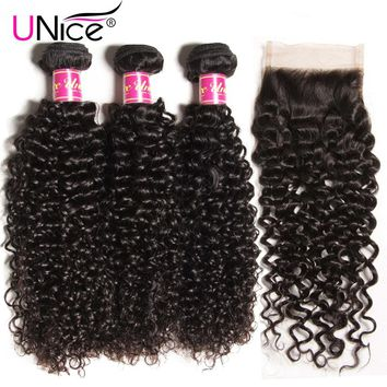 UNice Hair Curly Weave Human Hair With Closure Free Part Brazilian Hair Weave Bundles with Closure Swiss Lace Remy Hair 4PCS