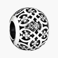 Women's PANDORA 'Intricate Lace' Bead Charm - Sterling Silver/ Clear Cz