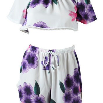 White and Purple Boat Neck Short Sleeves Crop Top + Shorts