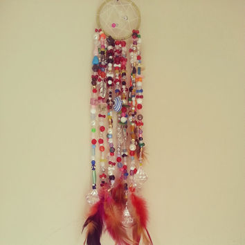Evil Eye Beaded Dream Catcher, gift for her, gift for him, gift for shower, bedroom decor, valentine's gift, home decor ideas, bohochic