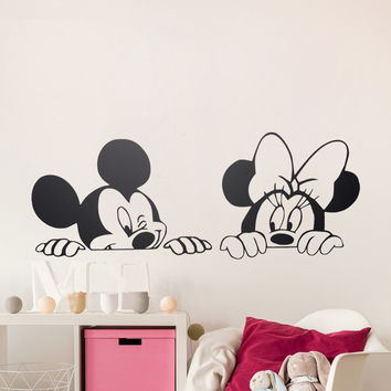 ZN B38 Cartoon Mickey Minnie Mouse Cute Animal Vinyl Wall stickers Mural Wallpaper Baby Room Decor Nursery Wall Decal Home Decor