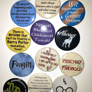 Harry Potter buttons or magnets - choose 6 - 2.25 inch pinback button or magnet