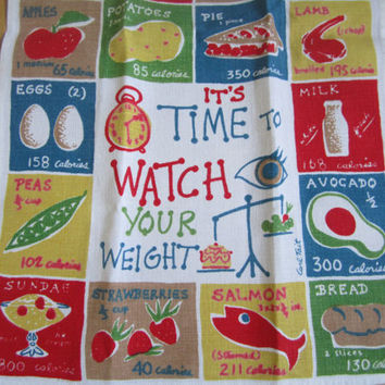 Vintage Towel Carl Tait Watch Your Weight