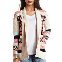 OPEN AZTEC CARDIGAN SWEATER