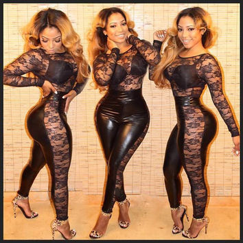 Long Sleeve Lace Spliced Jumpsuit