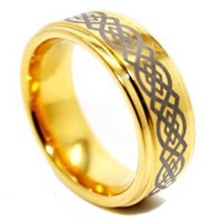 9mm Golden Colored Tungsten Wedding Ring with Celtic Knot Design (US Sizes 4.5-17)