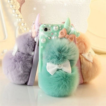 Popular Chic Rabbit Fur Multicolor Bunny Case For Teen Girls,Rhinestone Hard Case Cover For iPhone 5C 5S 4S Galaxy S4 S3,CC29 = 1932572804