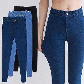 2017 Vintage Slim High Waisted Jeans Skinny Stretch Jeans For Women Fashion Cotton Women's Sexy Elastic Black Jeans Pants