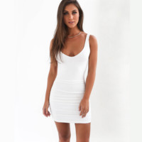 Hot sale fashion sexy straps pure color show thin backless dress (6 color) White