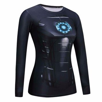 Women T Shirts Blue ironman Compression Shirt Superman Captain America Long Sleeve T-Shirt Fitness Girls Crossfit Brand Clothing