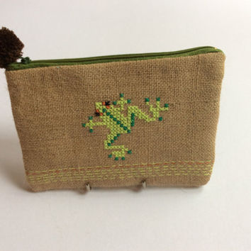 Green frog, burlap pouch bag, cross stitch embroidery ,accessories pouch, handmade pouch, travel accessory