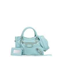 Metallic Edge City Mini Bag, Light Blue - Balenciaga