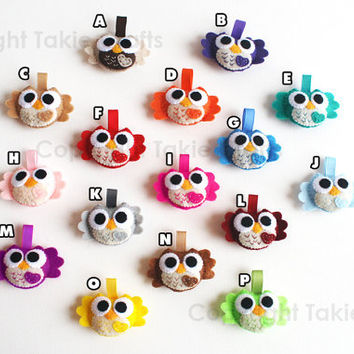 16 Mini Felt Owls - Baby shower-Party favors-Ornament-Keychain and more