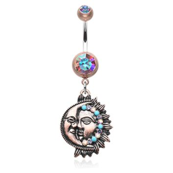 Vintage Boho Sun & Moon Belly Button Ring Navel Ring Body Jewelry