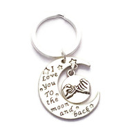 Pinky Promise Keyring, Moon Keychain, I Love You To The Moon And Back, Best Friends Gift, Present For Girlfriend, Moon And Stars, Birthday