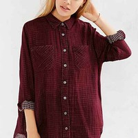 BDG Christina Checkered Button-Down Shirt- Red Multi