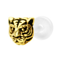 Silver 925 Gold Plated Tiger Bioplast Tragus Labret Monroe | Body Candy Body Jewelry