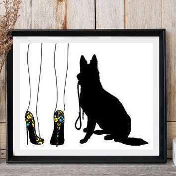 German shepherd, Dog print, Woman legs, High heels, Floral print, Floral shoes, Dog walk, Printable art, Modern wall decor, Dog collar