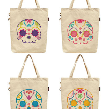 Women Sugar Skull Printed Canvas Tote Shoulder Bag WAS_40