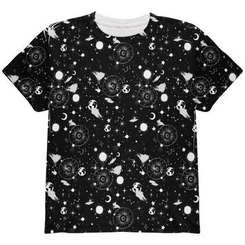 DCCKU3R Halloween Galaxy Astronomy Pattern All Over Youth T Shirt