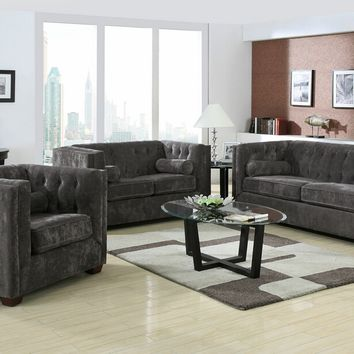 2 pc Alexis collection charcoal microvelvet fabric upholstered Sofa and love seat with squared arms and tufted back