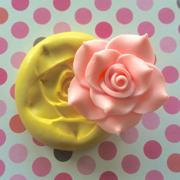 Large Big ROSE Silicone MOLD - Wedding Topper, PMC, Cake Charms, Soap, Cupcake Topper, Cold Porcelain, Wedding Cake, Fondant Mold, Clay Mold
