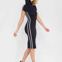 Sporty Stripe Hooded Midi Dress