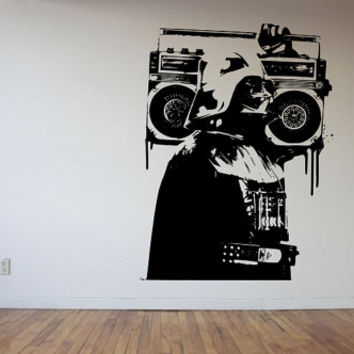 Darth Vader Starwars Bansky Style Modern Large Decal  Made To order Fast Production Shipping within 24 hours...Several Color Opt