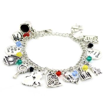 Drop shipping a lot New Beauty and the Beast Charm Bracelet with Rose, Castle ,Once upon a time book ,Cup,Kettle