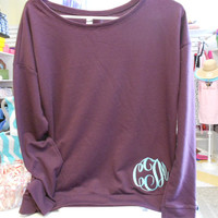 Long Sleeve Scoop Shirt Monogram Font Shown  by MONOGRAMSINC
