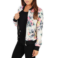 Autumn Tunic Jaket Female 2017 Women Long Sleeve Floral Bomer Jacket Casual Slim Zippers Basic Baseball Overcoat Casaco Feminino