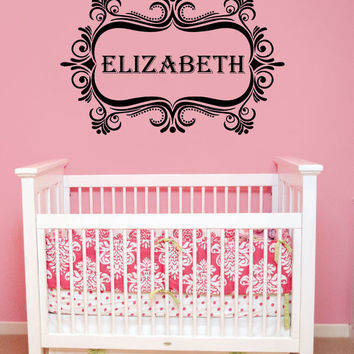 Wall Decal Name Girls Vinyl Sticker Personalized Custom Decals Art Mural Monogram Wall Decals Nursery Baby Frame Princess Name Girls AN346