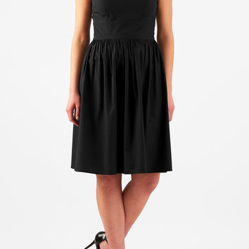 Cotton poplin fit-and-flare dress