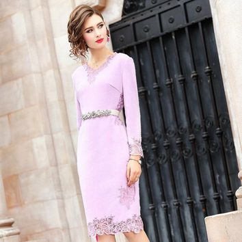Office Lady wool dress new Women ladies sexy Full sleeves Party Dress Plus Size winter floral Vintage Knee Length dresses