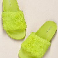 Neon Fake Fur Band Thick Sole Slide Sandals