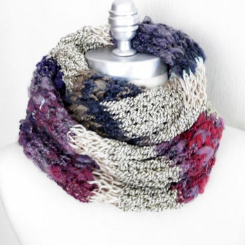 Striped Infinity Scarf, Berries and Cream Fall Scarf, Winter Scarf Loop Scarf, Mobius Scarf, Fashion Knitwear, Fall Essentials