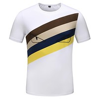 FENDI Summer Hot Sale Men Casual Print Short Sleeve T-Shirt Top Tee White