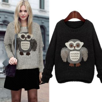 Fashion Owl Loose Long-sleeved Round Neck Thick Hedging Sweater