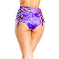 Purple Crushed Velvet Lace Back High Waist Rave Bottoms