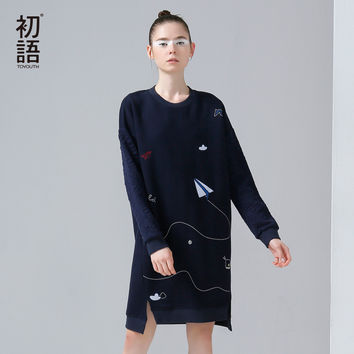 Toyouth 2016 New Arrival Women Autumn Dress Casual Funny Emboridery Pattern Loose Dresses Female O-Neck Long Sleeve Dresses