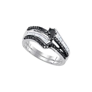 Sterling Silver Womens Round Black Colored Diamond Bridal Wedding Engagement Ring Band Set 5/8 Cttw