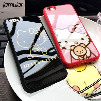 JAMULAR Hello Kitty Mirror Case for iPhone 7 6 6s Plus 5 5s SE Anti-knock Phone Cover for iPhone 6 6s 8 Plus Phone Protective