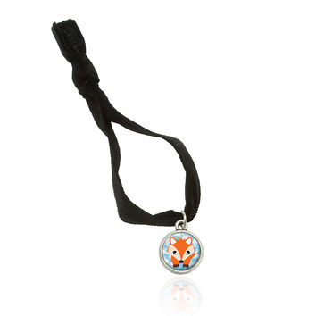 Fox in the Clouds Stretchy Elastic Hair Tie w- Silver Charm