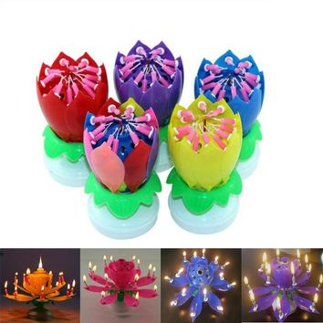 13 Parttens Electronic Art Candle Double Layer Rotating Musical Lotus Birthday Candles with Holder Gift for Kids Birthday