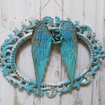 Framed ornate metal wings shabby chic hand painted turquoise Caribbean beach cottage blues rusted heavily distressed anita spero