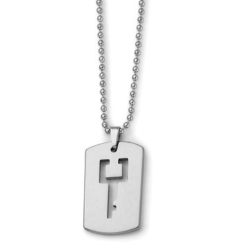 Men's Tungsten Dog Tag with Key Cut-out Necklace