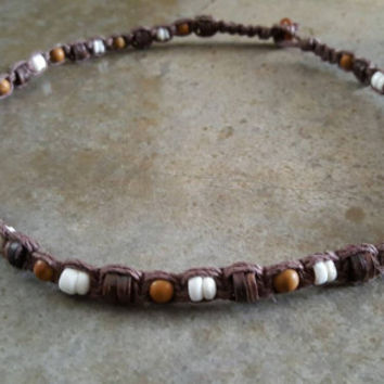 Mens Hemp Necklace, Handmade Jewelry, Gift for Him, Mens Jewelry, Mens Puka Shell Necklace, Jasper, Hemp Necklace, Hemp Jewelry, Mens Hemp